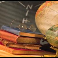 globe and books
