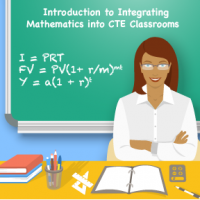 """Icon for the course is an image of a teacher in front of a chalkboard with a formula written on the board and the title """"Introduction to Integrating Math into CTE Classrooms."""""""