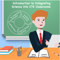 "Icon for the course is an image of a teacher in front of a chalkboard with title ""Introduction to Integrating Math into CTE Classrooms"" written on the board."
