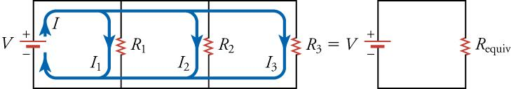On the left is a circuit diagram with three resistors connected in parallel. On the right is a circuit diagram with only one resistor that has equivalent resistance to the three resistors shown on the left.