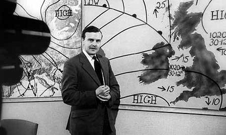 A black and white photograph of a meteorologist is shown. The meteorologist is standing in front of a weather map with a television camera pointing at him.