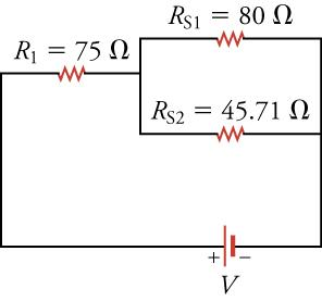 The same circuit diagram as above, but with two pairs of resistors in series combined.