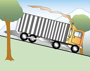 A truck with smoking brakes barrels down a steep incline.