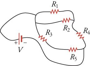 A circuit diagram with curved lines between all components instead of straight lines.