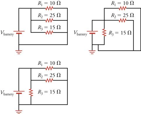 Three equivalent circuit diagrams are shown, each with three resistors connected in parallel.