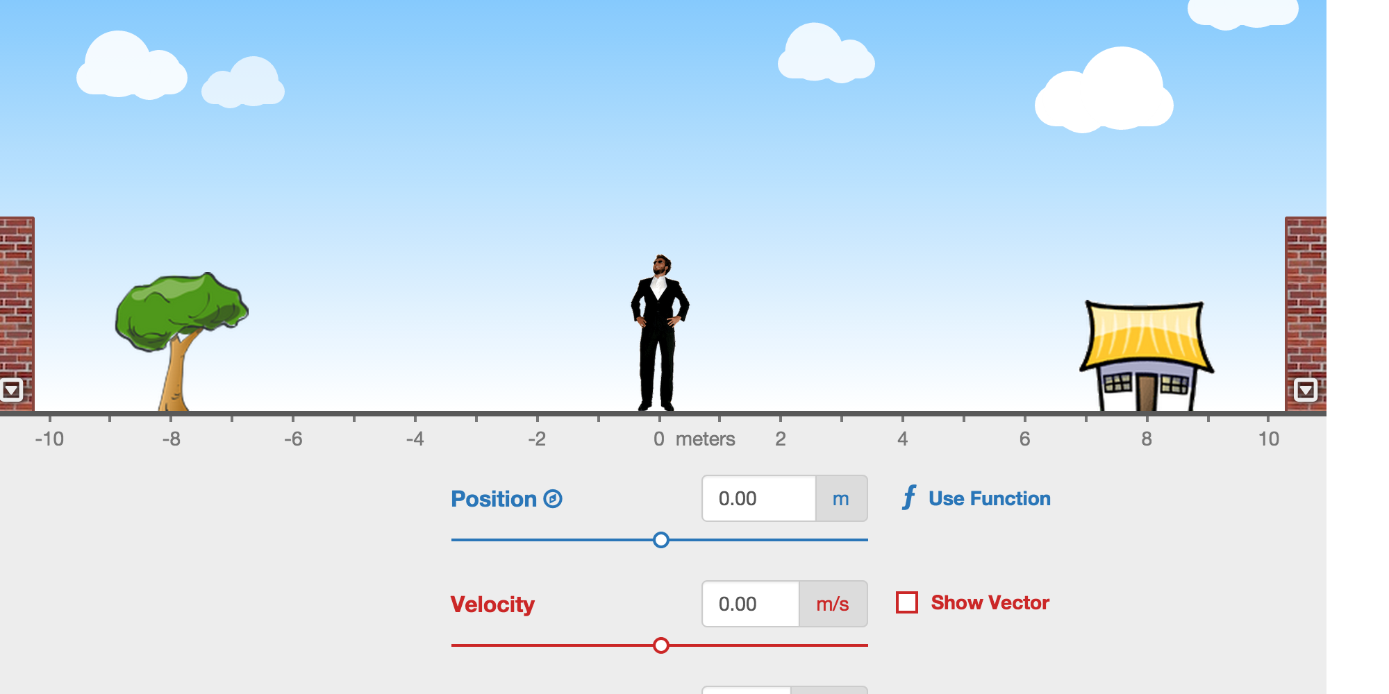 This simulation allows you to move a man back and forth and plot his motion to learn about position, velocity, and acceleration.