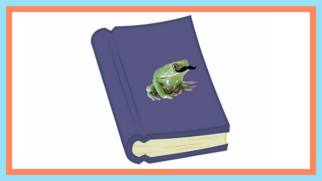 book and frog