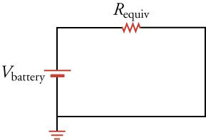 A circuit diagram showing only one resistor that is equivalent to the three resistors shown in each of the three diagrams shown above.