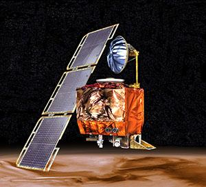 An image of the Mars Climate Orbiter is shown hovering above Mars.