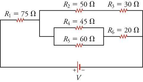 A circuit diagram showing six resistors, some in series and others parallel.