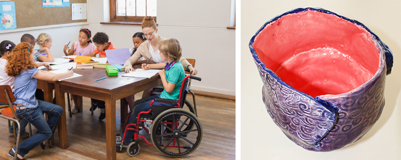Image of students working together with instructor around a tableand an image of a student pottery