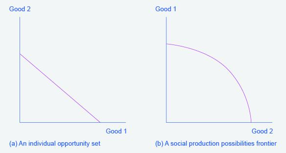 Two graphs will occur frequently throughout the text. They represent the possible outcomes of constraints/production of goods. The graph on the left has 'Good 2' along the y-axis and 'Good 1' along the x-axis. The graph on the right has 'Good 1' along the y-axis and 'Good 2' along the x-axis.