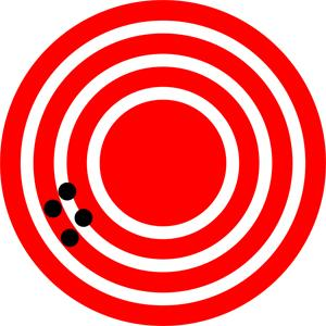 A red target is shown with four dots that represent attempts by a GPS system to locate a restaurant at the center of the bull's-eye. The dots are concentrated close to one another, indicating high precision, but they are rather far away from the actual location of the restaurant, indicating low accuracy.