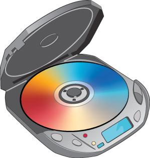 Drawing of a portable CD player. Its cover is open, showing a CD that has a red sector on the lower left, of about 90 degrees, a blue sector on the upper right of about 120 degrees, and a yellow sector between them of about 30 degrees.