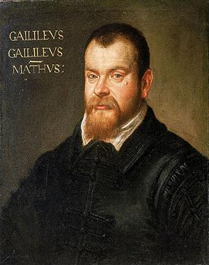 A painting of Galileo Galilei is shown.