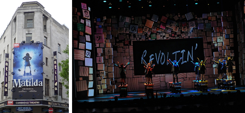 Image (left) of a marquis for Matilda the Musical and image (right) of the Revolting Children number from the musical as performed on the Tony Awards in 2013