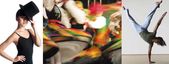 Image of dancer in top hat, image of folk dancers in motion, image of dancer in studio