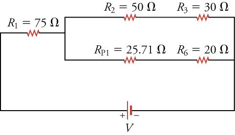 The same circuit diagram from above but with the two parallel resistors combined.