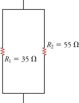 This shows a vertical parallel circuit. In the middle of either side there are resistors. The left resistor is labeled R1 = 35Ω. The right resistor is labeled R1 = 55Ω