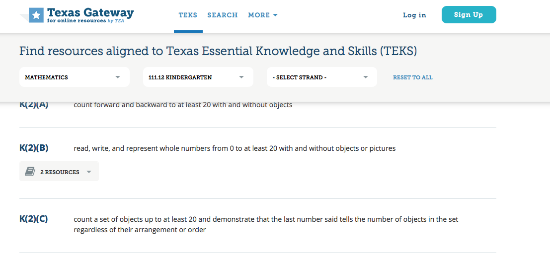 Image of the Texas Gateway interface and the Standards Search fields