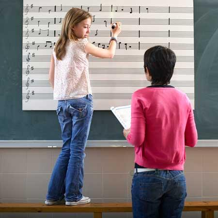 Image of girl writing music on chalkboard and looking back at her teacher