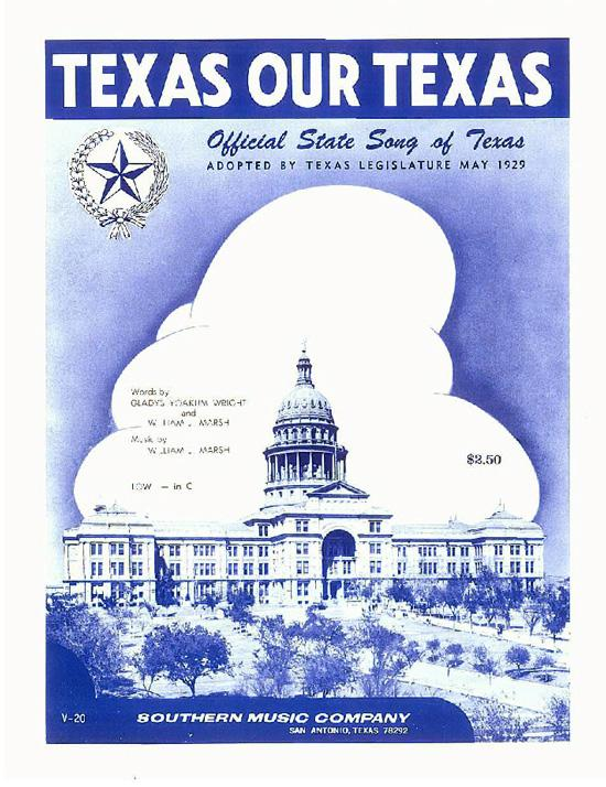 Image of cover of sheet music for Texas Our Texas