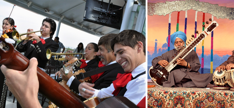Image of a Mariachi band and an image of a sitar player