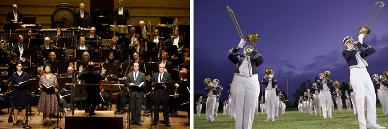 Image of the Dallas Symphony Orchestra and a marching band on a football field