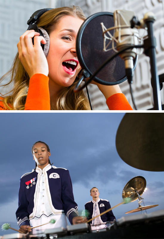 Image of a singer recording in a studio and a xylophone player on the field