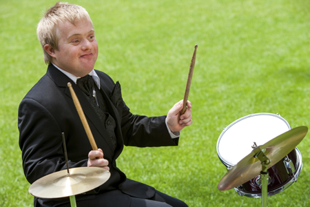 Image of a student playing drums