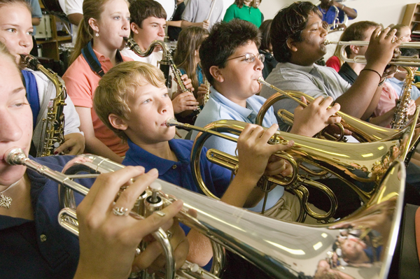 Image of students in band playing instruments
