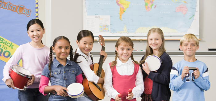 Image of students with different instruments