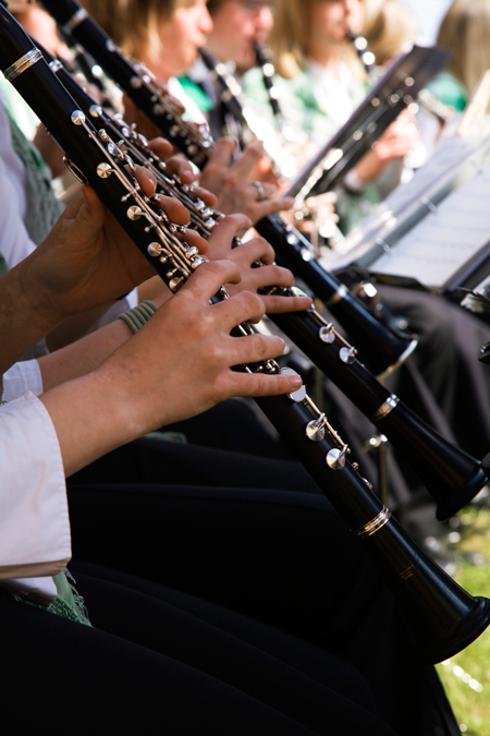 Image of a row of clarinet players
