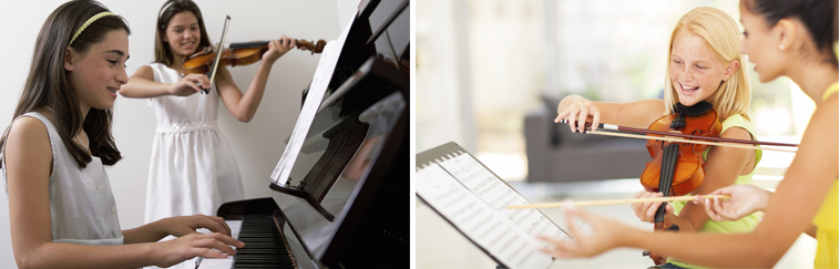 Image of a student playing the piano and image of a student playing the violin with guidance from her instructor