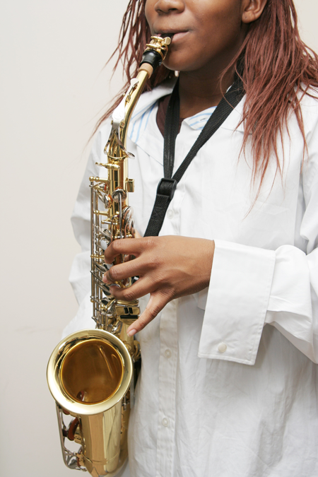 Image of a student playing the saxophone