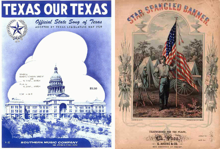 Image of the sheet music covers for Texas, Our Texas and The Star Spangled Banner