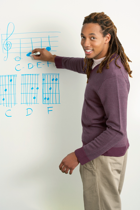 Image of music teacher writing chords on white board