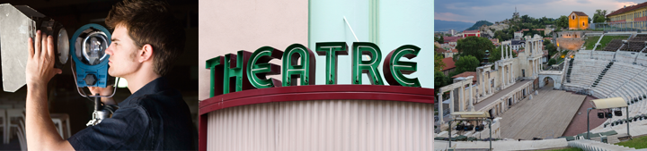 Images of a person working with professional lighting, an old theatre sign, and an amphitheatre