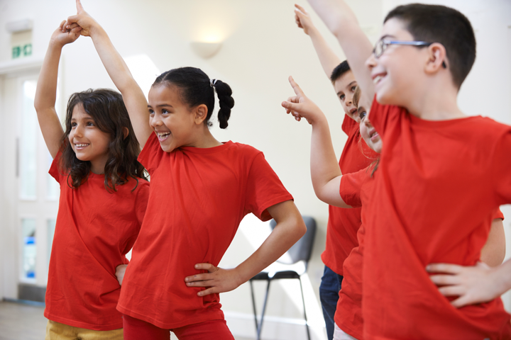 Image of children practicing in class
