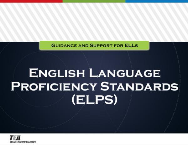 English language proficiency standards (ELPS) section title graphic