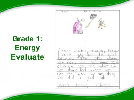 Grade 1: Energy Evaluate, Picture of student's sample letter to their Energy Superhero.