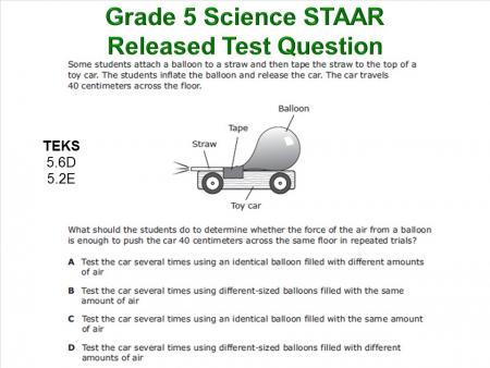 Image of Grade 5 Science STAAR Released Test Question