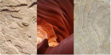 three pictures of different rock formations