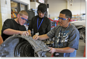 Student mechanics at work
