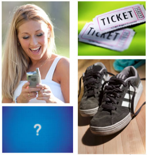 Collage of pictures (ticket stubs, shoes, lady on cell phone, ?)