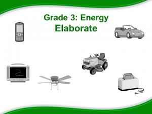 Grade 3: Energy Elaborate. Images of cellular phone, television, ceiling fan, riding lawn mower, toaster, and car.