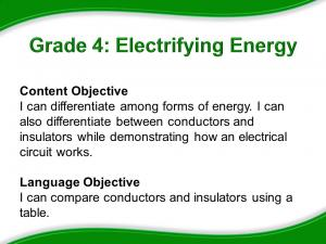Grade 4: Electrifying Energy. Content Objective is: I can differentiate among forms of energy. I can also differentiate between conductors and insulators while demonstrating how an electrical circuit works. The Language Objective is: I can compare conductors and insulators using a table.