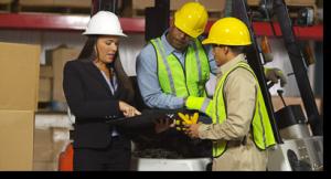 A teacher visits a construction worksite