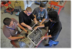students with a chip board
