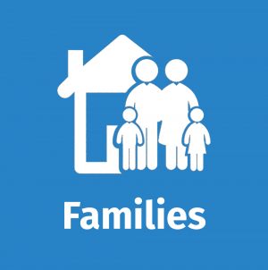 blue graphic with generic icons of a family and a house